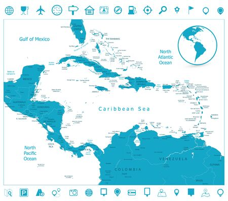 Map of the Caribbean and navigation icons. Highly detailed vector illustration.