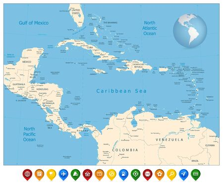Political Map of the Caribbean and colorful map markers. Highly detailed vector illustration.