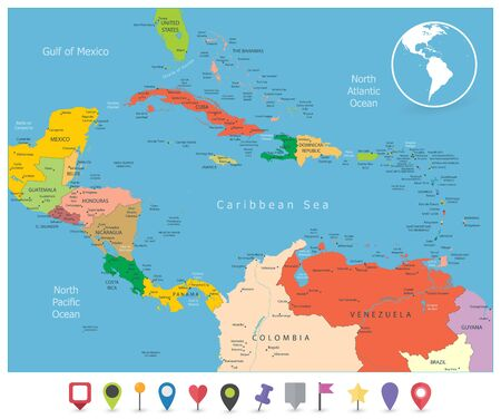 Political Map of the Caribbean and flat icons. Highly detailed vector illustration. Illusztráció