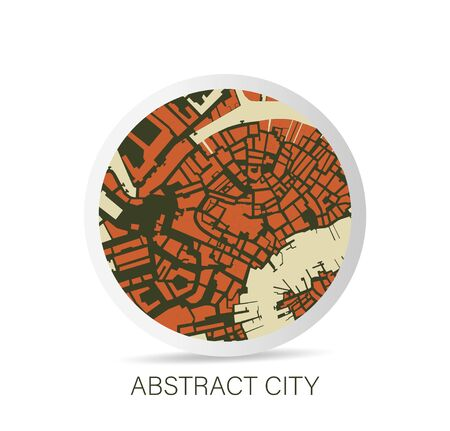 Minimalistic abstract city map icon. Vector Illustration.