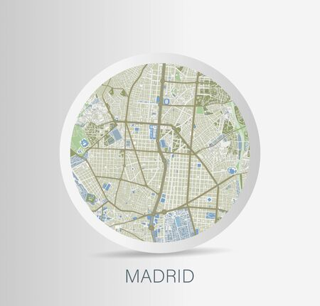 Minimalistic Madrid street map icon. Vector Illustration. Illusztráció