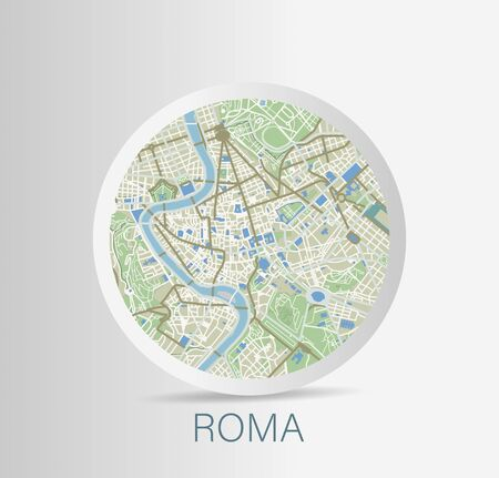 Minimalistic Rome city map icon. Vector Illustration. Illusztráció