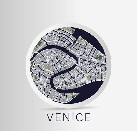 Minimalistic Venice city map icon. Vector Illustration.