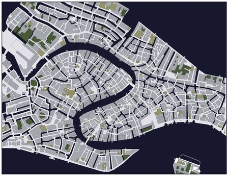 Venice downtown city map (Italy). Outline Map. Vector Illustration.