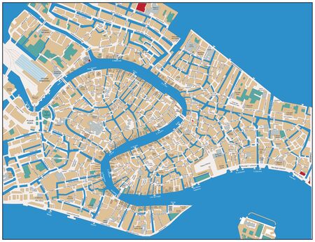 Venice Street Map. Vector illustration.