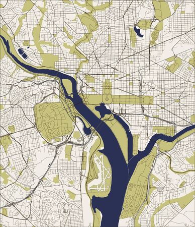 Abstract vector map of the city of Washington D.C., USA. Vector. Illusztráció