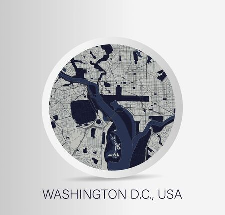 Minimalistic Washington street map icon. Vector Illustration.