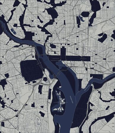 Vector map of the city of Washington D.C., USA. Vector. Illusztráció