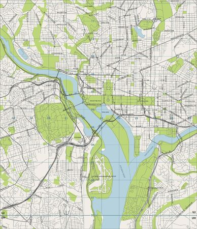 Washington D.C. vector street map Иллюстрация