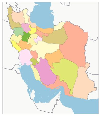 Political Map of Iran. No text. Image contains layers with outline contours.
