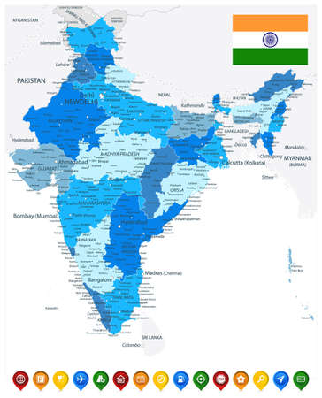 India Administrative Blue Map and Colored Map Icons. Vector illustration.