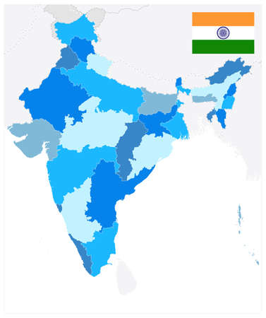 India Administrative Blue Map. No text. Vector illustration.