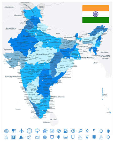 India Administrative Blue Map and Navigation Icons. Vector illustration.