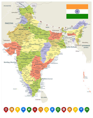 India Administrative Map and Colored Map Icons. Vector illustration.