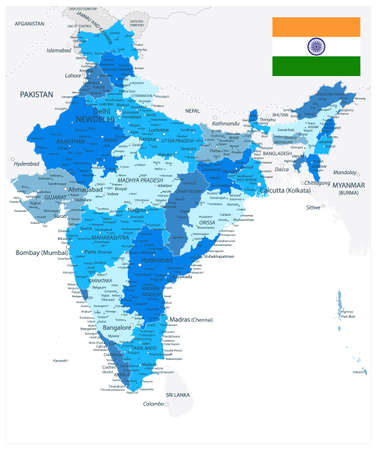India Administrative Blue Map. Vector illustration.