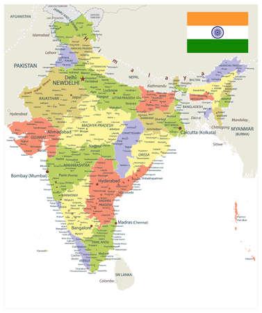 India Administrative Map. Vector illustration.