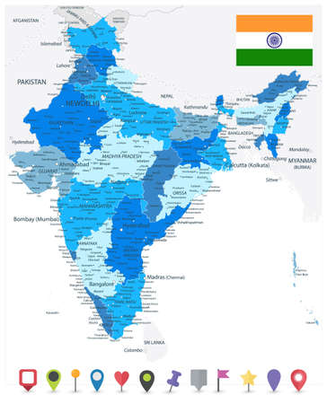 India Administrative Blue Map and Flat Map Icons. Vector illustration.