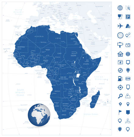 Africa highly detailed map and navigation icons. Vector illustration.