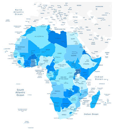 Highly detailed political map of Africa in blue colors with separated layers.