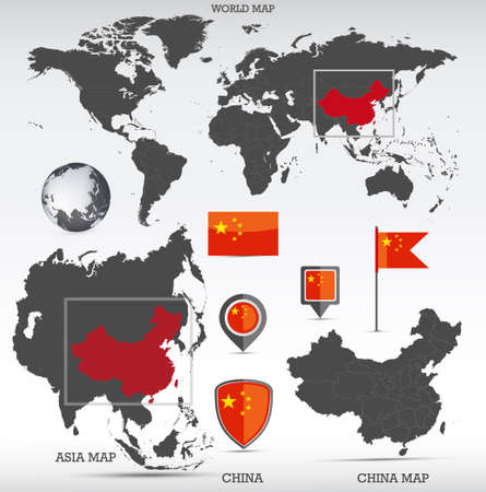 China administrative divisions map, Earth globe, World and Europe maps showing country location and China flags icon set. Иллюстрация