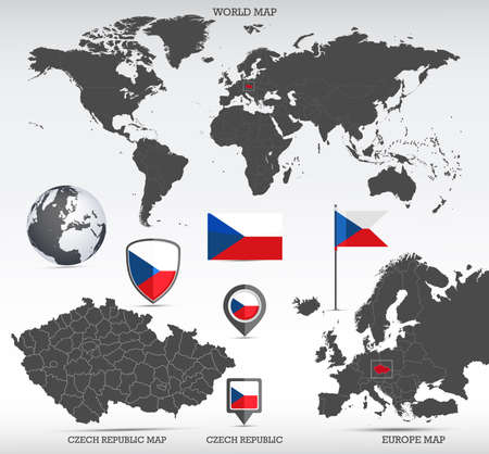 Czech Republic administrative divisions map, Earth globe, World and Europe maps showing country location and Czech Republic flags icon set.
