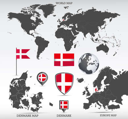 Denmark administrative divisions map, Earth globe, World and Europe maps showing country location and Denmark flags icon set.