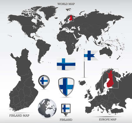 Finland administrative divisions map, Earth globe, World and Europe maps showing country location and Finland flags icon set.