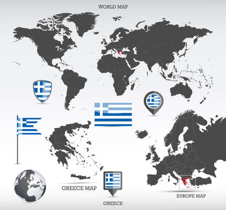 Greece administrative divisions map, Earth globe, World and Europe maps showing country location and Greece flags icon set.