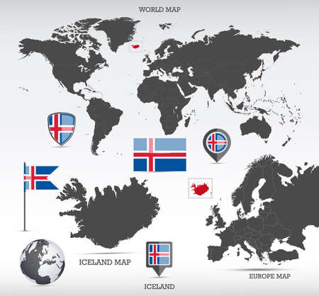 Iceland administrative divisions map, Earth globe, World and Europe maps showing country location and Iceland flags icon set.