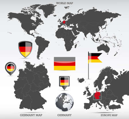 Germany administrative divisions map, Earth globe, World and Europe maps showing country location and Germany flags icon set. Фото со стока - 164204073