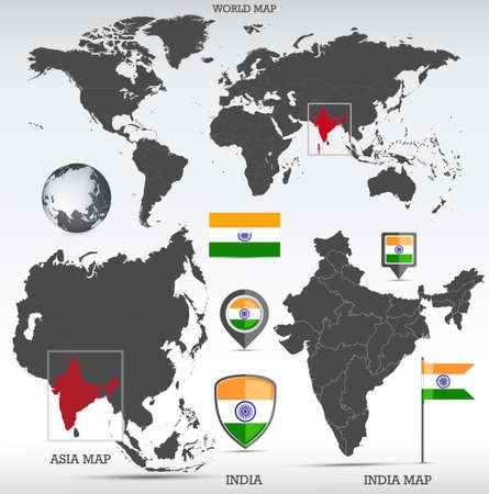 India administrative divisions map, Earth globe, World and Europe maps showing country location and India flags icon set.