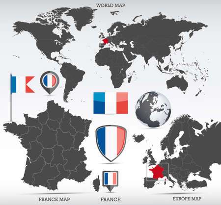 France administrative divisions map, Earth globe, World and Europe maps showing country location and France flags icon set.