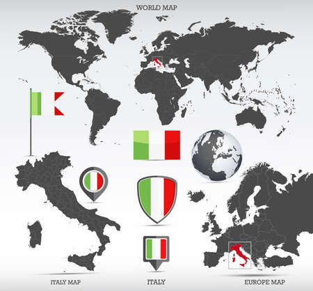 Italy administrative divisions map, Earth globe, World and Europe maps showing country location and Italy flags icon set.