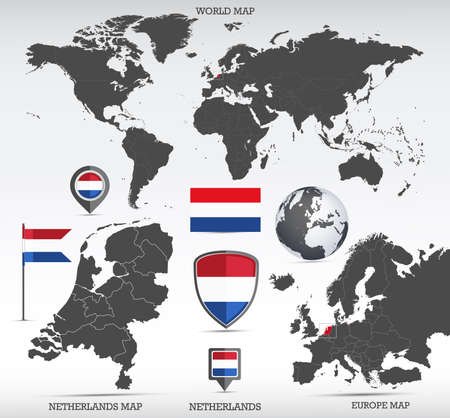 Netherlands administrative divisions map, Earth globe, World and Europe maps showing country location and Netherlands flags icon set. Иллюстрация