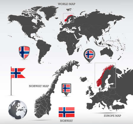 Norway administrative divisions map, Earth globe, World and Europe maps showing country location and Norway flags icon set. Иллюстрация