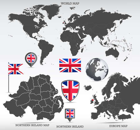 Northern Ireland administrative divisions map, Earth globe, World and Europe maps showing country location and Northern Ireland flags icon set. Фото со стока - 164204083