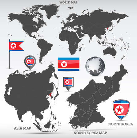 North Korea administrative divisions map, Earth globe, World and Europe maps showing country location and North Korea flags icon set. Иллюстрация