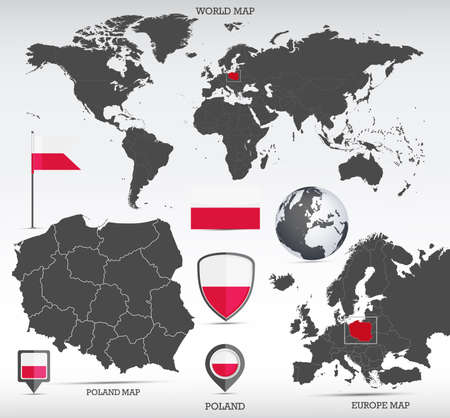 Poland administrative divisions map, Earth globe, World and Europe maps showing country location and Poland flags icon set.