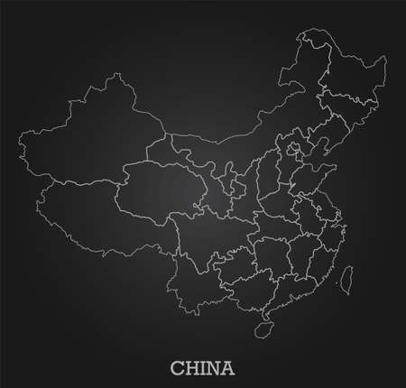 Abstract line map of China on dark background. Vector illustration.