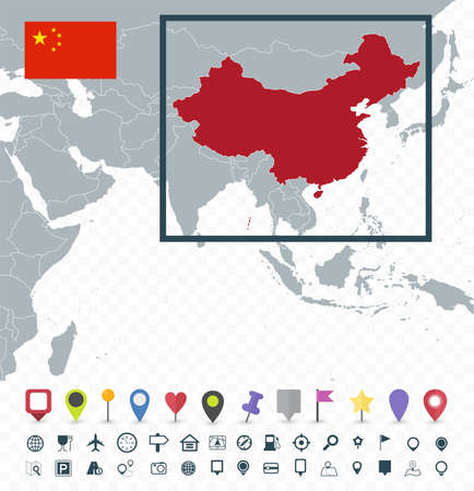 China location on World Map - Transparent background - Highly detailed vector illustration of map.