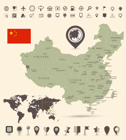 China Map and and World Map with navigation icons - Detailed map of China vector illustration - All elements are separated in editable layers clearly labeled.