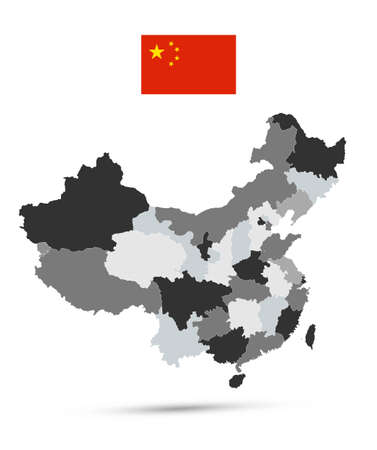 Administrative Divisions Map of China - Highly detailed vector illustration of map. Фото со стока - 164204092