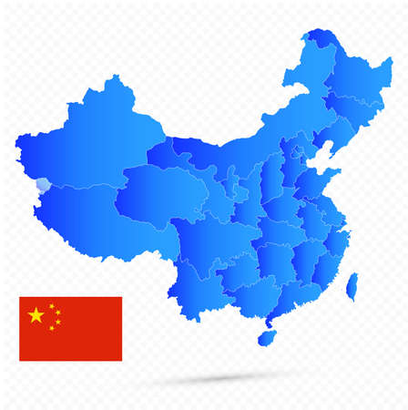 China map and flag on transparent background. No text. Image contains layers with map contours. Highly detailed vector illustration.