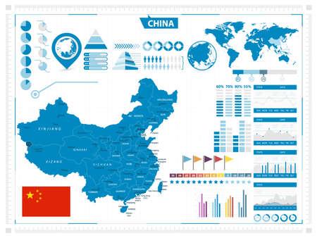 China map and infograpchic elements. Vector illustration.