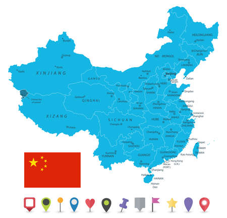 China Map Isolated On White and Flat Map Icons - Image contains layers with map contours, land names, city names and flat map icons - Highly detailed vector illustration. Иллюстрация