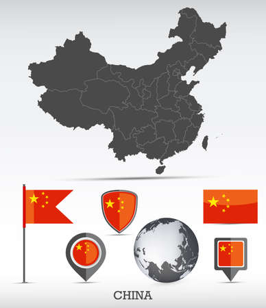 China map and flag set. Detailed country shape with region borders and flag icons.