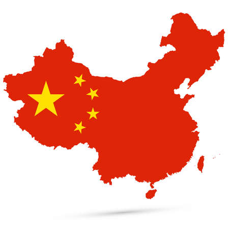 Map of China with national flag. Highly detailed editable map of China, East Asia country territory borders. Political or geographical design element vector illustration on white background.