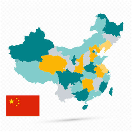 China Map on transparent background - Business template in flat style.