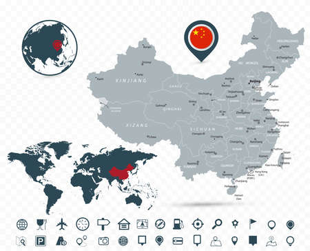 China Map and World Map isolated on transparent background - Highly detailed vector illustration of map. Иллюстрация