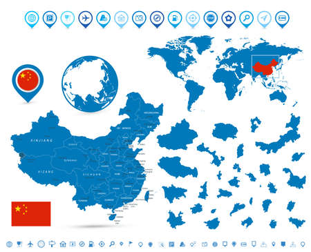 Detailed map of China and navigation elements. Vector illustration